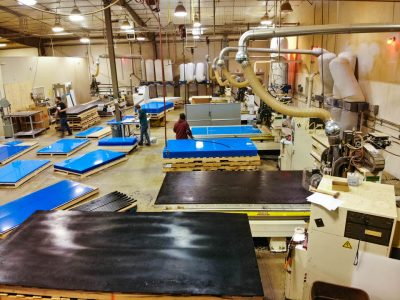 Shows multiple material types on Traco's manufacturing floor.